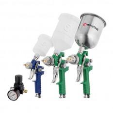 Набор из 3-х краскопультов HVLP, 0,8мм, 1,3мм, 1,7мм, регулятор давления, два пластиковых и один мет
