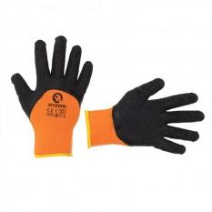 Перчатка трикотажная, акриловая, утепленная, оранжевая, покрыта черным морщинистым латексом 10'