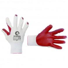 Перчатка трикотажная, поликоттон, стекольщика (каменщика), с двойным латексным покрытием красного цв