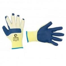 Перчатка трикотажная, поликоттон, стекольщика (каменщика), с двойным латексным покрытием синего цвет