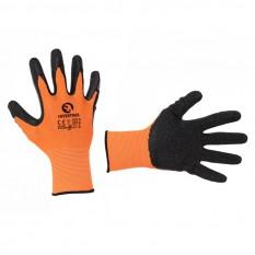 Перчатка трикотажная, синтетическая, оранжевая, покрыта черным рифленым латексом, 10'