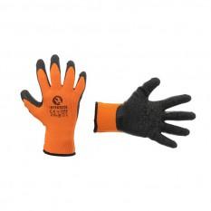 Перчатка трикотажная, синтетическая, оранжевая, покрыта черным рифленым латексом, 9'