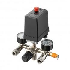 Прессостат 380В(блок автоматики компрессора) 10 bar в сборе, (прессостат, редуктор, 2 манометра, пре