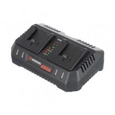 Устройство зарядное для аккумуляторов литий-ион 20 В, ток заряда 4.0+4.0 А, два теминала зарядки