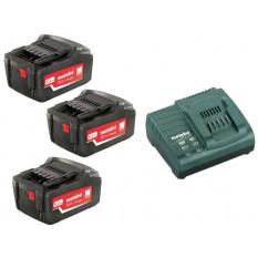 Базовий комплект 3 x 5,2 А-год 3 x акумулятори 5,2 A-год. 1 x зарядний пристрій ASC 30 – 36 В