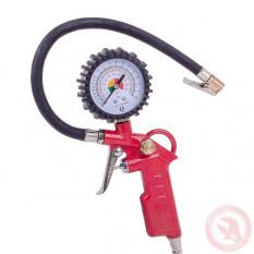 Манометр к пистолету для подкачивания колес с резиновым покрытием.  d 63 мм 1/4*, nptf 1/8*