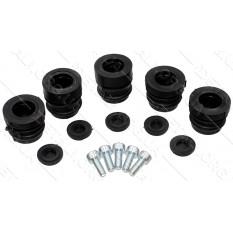 набор амортизаторов (сайлентблоков) бензопилы 4500 + винты (3*21,5мм + 2*26,7мм) черные