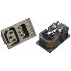 разъем (гнездо+штекер) сетевое двойное 3 контакта под предохранитель