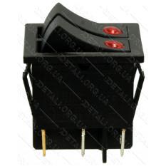 Тумблер двойной 2 положения 6 контактов светодиод 25*32mm 16A