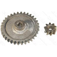 шестерни цепной электропилы d1 10*74 шлиц 33 зуба влево h20 d2 10*24 9 зубов вправо h12