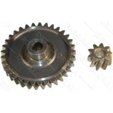 шестерни цепной электропилы d1 10*74 шлиц 33 зуба влево h24 d2 10*24 9 зубов вправо h15,5