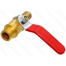 Кран компрессора 1/4 мама - штуцер 10мм (большая ручка)