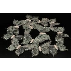Бабочки белые из прозрачные для декора 12 штук.