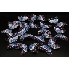 Бабочки голубые из перьев для декора 12 штук.