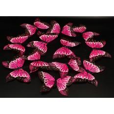 Бабочки розовые из перьев для декора 12 штук.