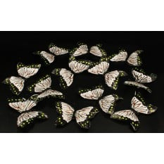 Бабочки серо - салатовые из перьев для декора 12 штук.