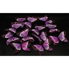 Бабочки сиреневые из перьев для декора 12 штук.