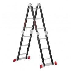 Лестница мультифункциональная трансформер 4х3ступени, стальной профиль, 3380мм, 150 кг