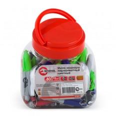 Мини-маркеры перманентные цветные, L 93 мм, 80 шт/упак. (черный, синий, зеленый, красный)