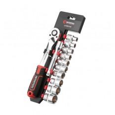 Набор головок 1/2 10-24 мм., удлинитель, рукоятка с храповым механизмом 72 зуба, 12ед., Cr-V STORM
