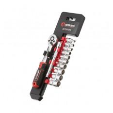 Набор головок 1/4 4-13 мм., удлинитель, рукоятка с храповым механизмом 72 зуба, 12ед., Cr-V STORM