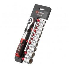 Набор головок 3/8 10-24 мм., удлинитель, рукоятка с храповым механизмом 72 зуба, 12ед., Cr-V STORM