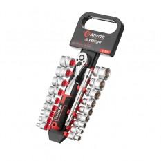 Набор головок 3/8 6-24 мм., удлинитель, рукоятка с храповым механизмом 72 зуба, 20ед., Cr-V STORM