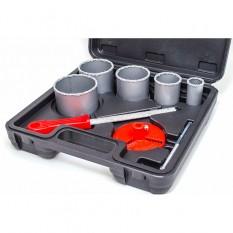 Набор корончатых сверл для плитки 5ед. 33-83мм, вольфрамовое напыление + напильник и чемодан