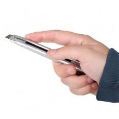 Нож металлический усиленный, лезвие 9 мм, с винтовой фиксацией лезвия