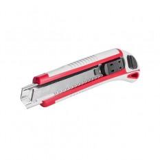 Нож прорезной с 3-мя отломными лезвиями 18мм, металлическая направляющая, противоскользящий корпус