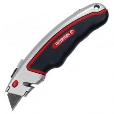 Нож с выдвижным трапециевидным лезвием 60*19 мм, металлический корпус, прорезиненный