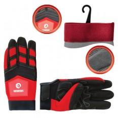Перчатка Microfiber тканевая красная с черными вставками спандекса на ладони утолщенное неопре 10
