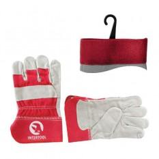 Перчатка замшевая из цельного материала с красными коттоновыми вставками 10.5, манжет обрезиненный (