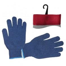 Перчатка из полиэстера 100% полиэстер, с ПВХ точкой, класс вязки 10, цвет черный, синяя точка, 55 г