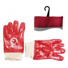 Перчатка маслостойкая х/б трикотаж покрытая PVC c вязаным манжетом (красная)