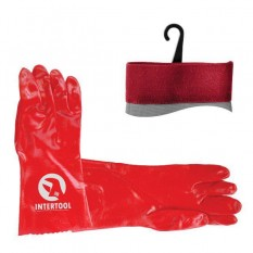 Перчатка маслостойкая х/б трикотаж покрытая PVC, 35см (красная) 120пар/ящик