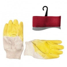 Перчатка стекольщика тканевая покрытая рифленым латексом на ладони (желтая) (ящик 120 пар)