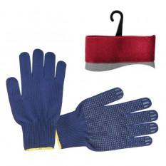 Перчатка трикотажная 70% хлопок / 30% полиэстер, с ПВХ точкой, класс вязки 10, цвет черный, синяя то