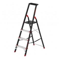 Стремянка 4 ступени, лоток для инвентаря, стальной профиль, высота верхней ступени 850мм, 433х821х13