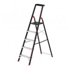 Стремянка 5 ступеней, лоток для инвентаря, стальной профиль, высота верхней ступени 1064мм, 457х893х