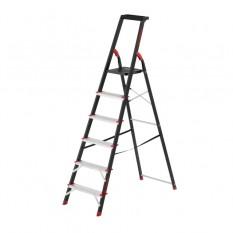 Стремянка 6 ступеней, лоток для инвентаря, стальной профиль, высота верхней ступени 1280мм, 481х1138