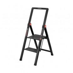 Стремянка алюминиевая Black Slim, 2 ступени, высота верхней ступени 456мм, 150 кг, STORM