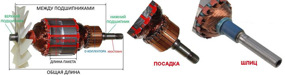 Якоря (роторы) для шлифовальных машин